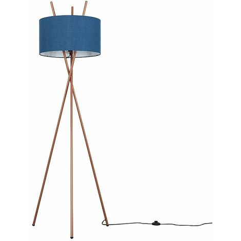 Copper Metal Tripod Base Floor Lamp Fabric Lampshade Light - Dark Grey - Copper