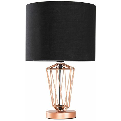 Copper Metal Wire Frame Table Lamp + Black Shade 4W LED Bulb Warm White