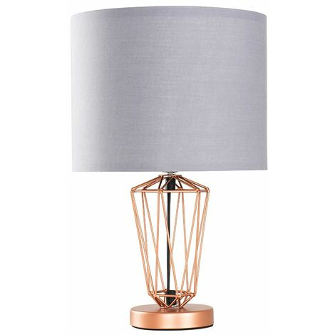 Copper Metal Wire Frame Table Lamp + Grey Shade 4W LED Bulb Warm White