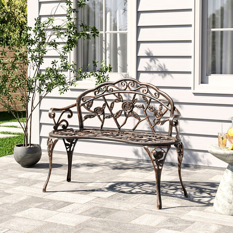 """main image of """"Copper Rose Cast Iron Park Bench Vintage Seating Garden Chairs Outdoor Furniture"""""""