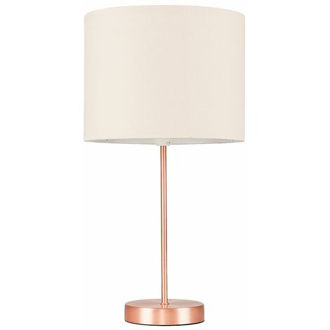 Copper Table Lamp Fabric Lampshades LED Bulb Lighting - Beige LED - Copper