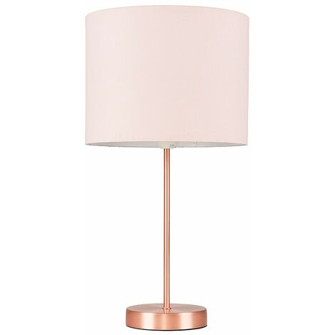 Copper Table Lamp Fabric Lampshades LED Bulb Lighting - Dusky Pink LED