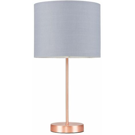 Copper Table Lamp Fabric Lampshades LED Bulb Lighting - Grey LED
