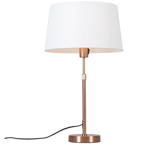 Copper table lamp with shade white 35 cm adjustable - Parte