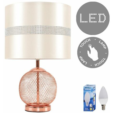Copper Touch Dimmer Table Lamp + Cream Diamante Light Shade 5W LED Candle Bulb - Warm White