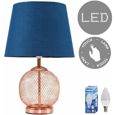 Copper Touch Dimmer Table Lamp + Navy Blue Light Shade 5W LED Candle Bulb - Warm White
