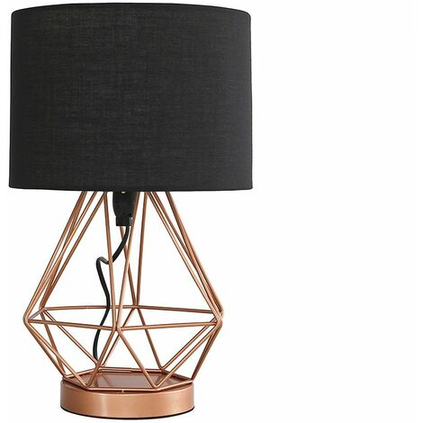 Copper Touch Table Lamp + Black Shade + 5W LED Dimmable Bulb Warm White
