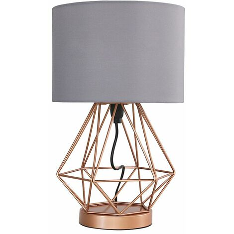 Copper Touch Table Lamp + Grey Shade + 5W LED Dimmable Bulb Warm White
