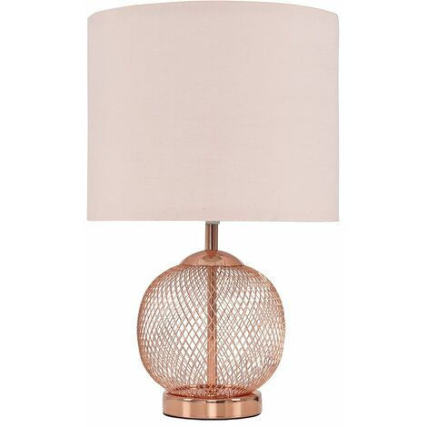 Copper Touch Table Lamp + Pink Light Shade - 5W Dimmable LED Candle Bulb Warm White