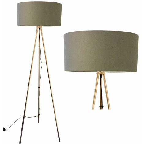 Copper Tripod Floor Lamp with Grey Fabric Shade