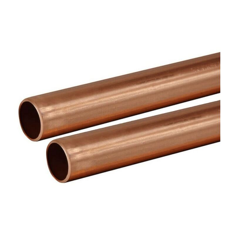 Image of Buyaparcel - Copper Tube 15mm 2 x 1m Lengths BS EN1057 R250 British Copper Pipe 2000mm 200cm