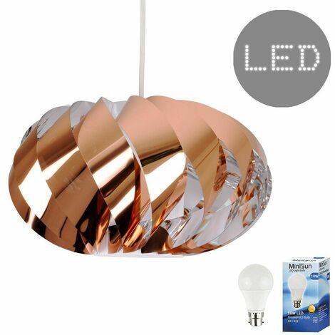Copper Twist Ceiling Pendant Light Shade - 10W LED Gls Bulb Warm White - Copper