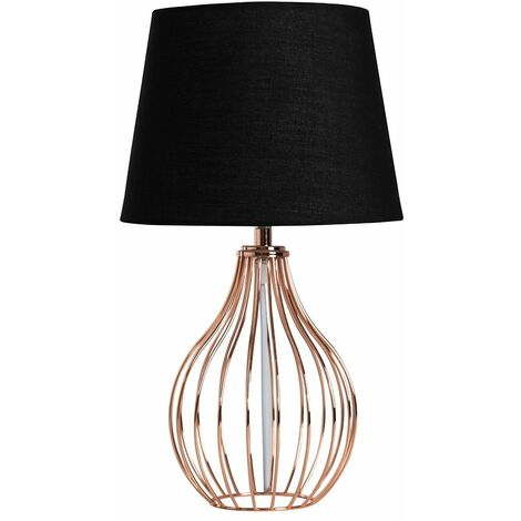 Copper Wire Basket Table Lamp + Black Tapered Shade 4w LED Bulb Warm White