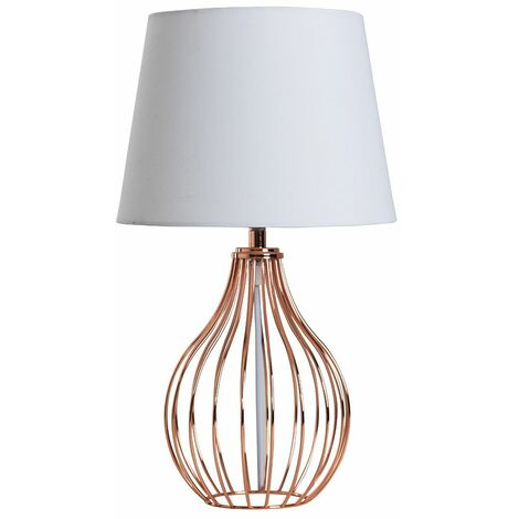 Copper Wire Basket Table Lamp + White Tapered Shade 4w LED Bulb Warm White
