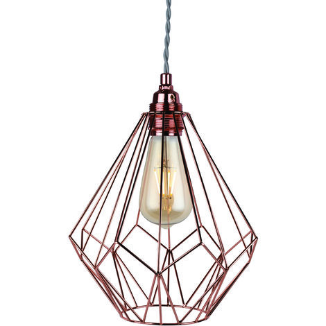 Copper Wire Geometric Ceiling Light Fitting