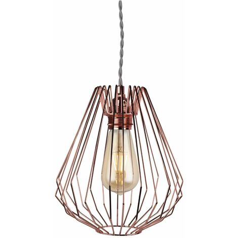 """main image of """"Geometric Chrome Copper Wire Easy Fit Hanging Ceiling Light Pendant Shade"""""""