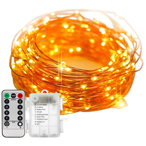 Copper wire string lights, garden holiday Christmas mood lights (delivered without batteries)
