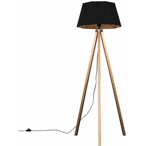 Copper Wood Tripod Floor Lamp + Black / Copper Geometric Shade 6W LED Gls Bulb Warm White