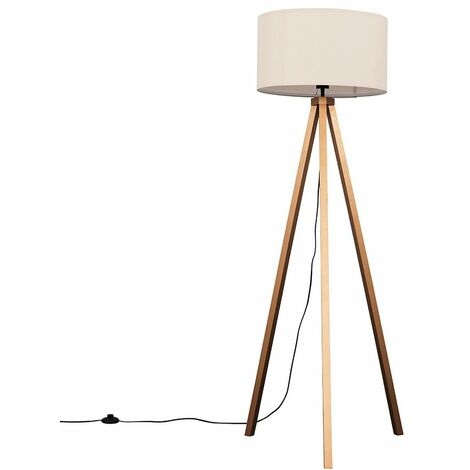"""main image of """"Copper Wood Tripod Floor Lamp with Monza Shade - Add LED Bulb"""""""