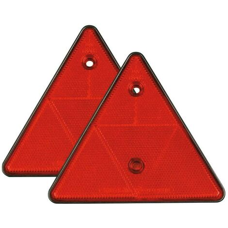 VECAM Coppia Catarifrangente Triangolare Rosso RIMORCHIO Carrello Caravan