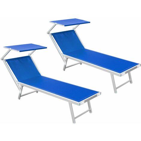 Prezzi Lettini Da Spiaggia In Alluminio.Coppia Di Lettini Da Mare In Alluminio Sdraio Parasole Mare