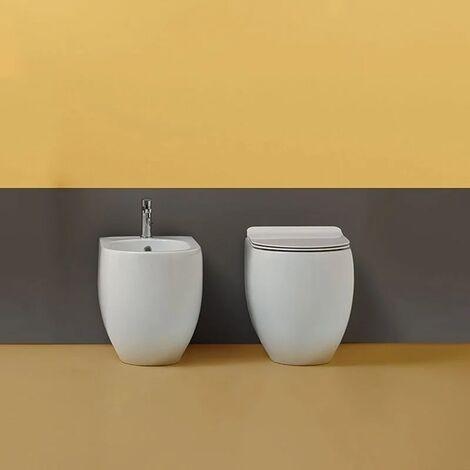 Coppia sanitari filomuro 52 cm bianco lucido Norim serie Flo Kerasan