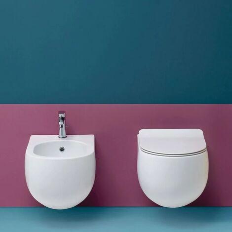 Coppia sanitari sospesi 54 cm bianco lucido serie Flo Kerasan