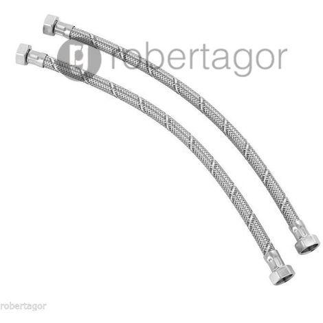 Coppia tubo tubi flessibile doccia rubinetti lavandini cucina da 40 cm per bagno