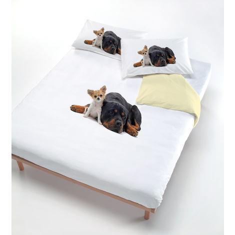 Copripiumino Cani.Copripiumino Con Stampa Sul Sacco E Federe Fazzi Due Cani Panna