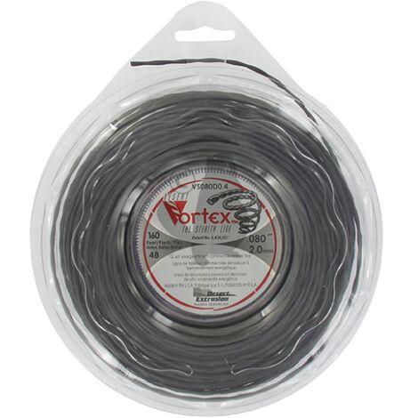 Coque fil nylon hélicoïdal copolymère VORTEX - 2.00mm x 48m - Qualité professionnelle - Fabrication américaine