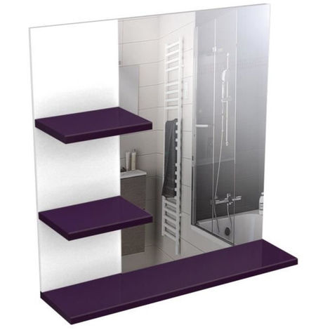 Corail Meuble Miroir De Salle De Bain 60 Cm Aubergine Haute Brillance
