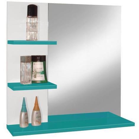 CORAIL Meuble miroir de salle de bain L 60 cm - Bleu lagon brillant -  Generique