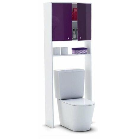 CORAIL Meuble WC ou machine a laver L 63 cm - Aubergine Laque