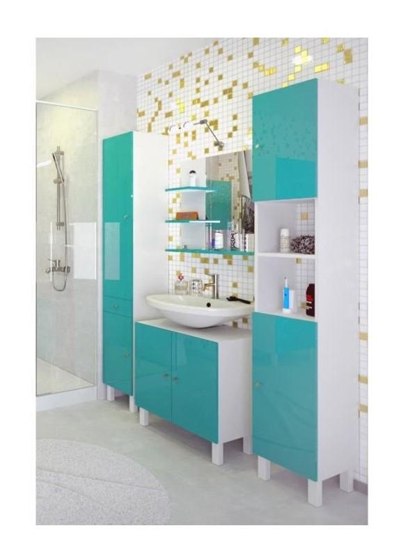CORAIL Miroir de salle de bain L 60 cm - Bleu lagon haute brillance