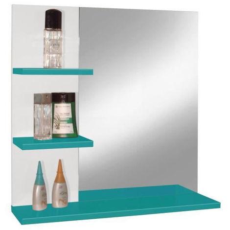 CORAIL Miroir de salle de bain L 60 cm - Bleu lagon haute brillance ...