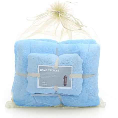 Coral Fleece Bath Towels Blue