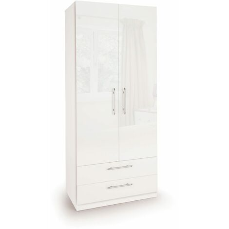 Coral Gloss Quality Bedroom Combi Wardrobe Two Doors