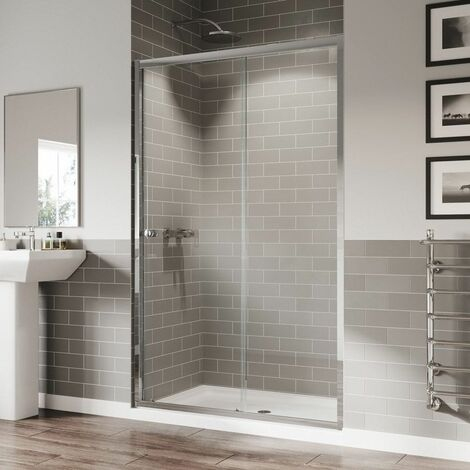 Coram 1000mm Sliding Shower Door Reversible 5mm Safety Glass Chrome Easy Clean