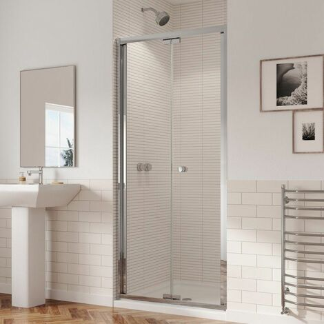Coram 760mm Bifold Shower Door Reversible 5mm Safety Glass Chrome Easy Clean