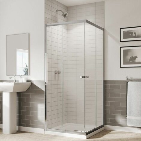 Coram 800mm Corner Entry Shower Enclosure Reversible 5mm Safety Glass Chrome