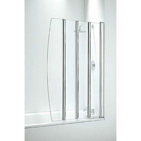 "main image of ""Coram Bathroom 4 Panel Over Bath Folding Shower Screen Chrome"""