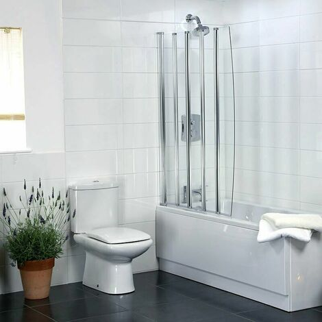 Coram Bathroom 5 Panel Over Bath Folding Shower Screen Chrome