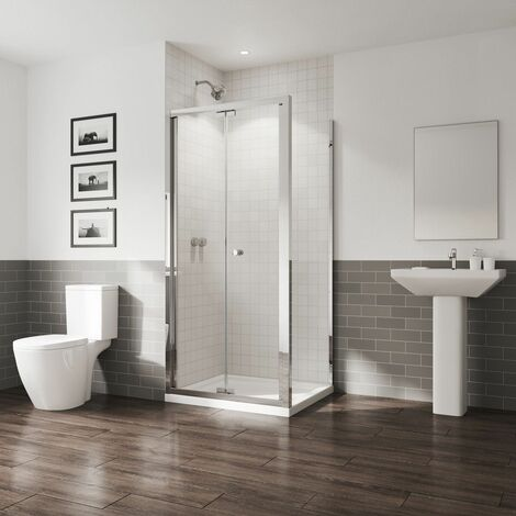 "main image of ""Coram GB 5 Bifold Door Shower Enclosure Side Panel 1000 x 800mm Easy Clean Glass"""