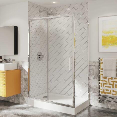 Coram Optima 6 Shower Enclosure Sliding Door Side Panel 1200 x 800mm 6mm Glass