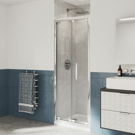 Coram Optima Cubicle Bifold Shower Door 900mm 6mm Safety Glass Chrome Enclosure