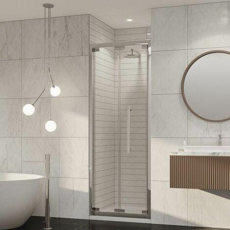 Coram Premier Bifold Shower Door 760mm 8mm Safety Glass Chrome Easy Clean
