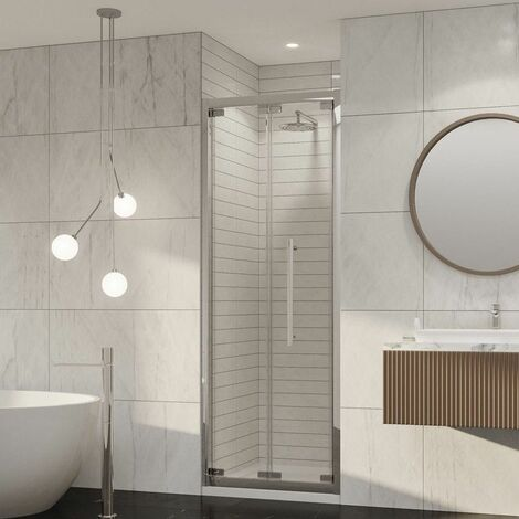 Coram Premier Bifold Shower Door 800mm 8mm Safety Glass Chrome Easy Clean