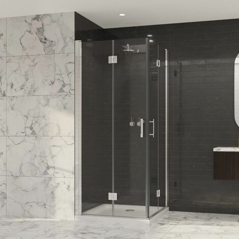 Coram Premier Double Bifold Shower Door 760mm 8mm Safety Glass Chrome Easy Clean