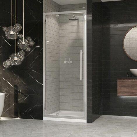 Coram Premier Pivot Shower Door 800mm 8mm Safety Glass Chrome Easy Clean