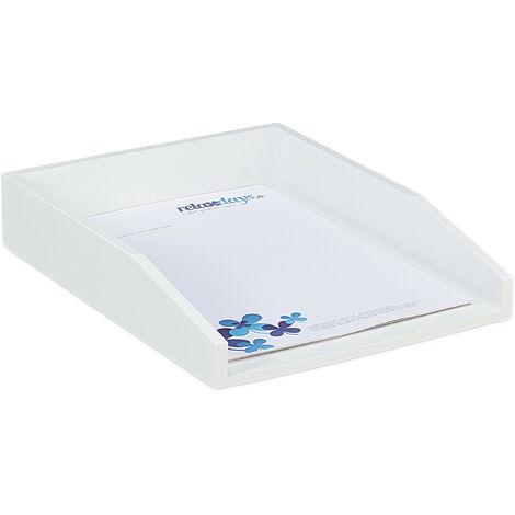 Corbeille à Courrier Empilable, Papier Format A4, Bureau, Range-Documents & Lettres, Bambou, 6x25x33cm, Blanc